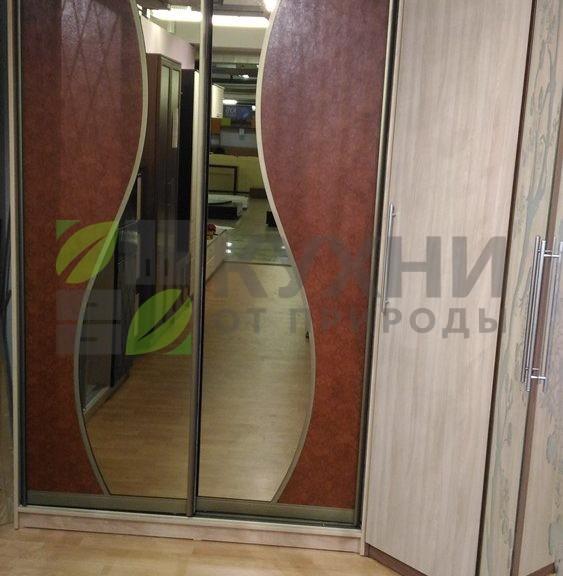 Шкаф купе с дверьми из кожи питона и зеркала бронза