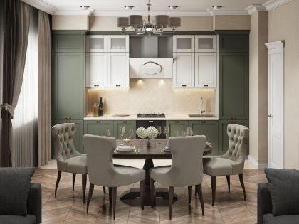 Кухня RAINBOW с рамочными фасадами из МДФ эмали
