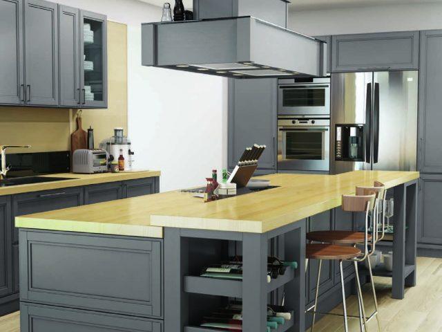 Кухня «ФОРТВУД» с фасадами из массива ясеня