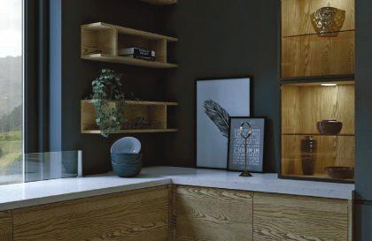 Современная кухня со шпонированными фасадами «НОРД»
