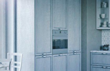 Светлая угловая кухня из МДФ «ЛЕОН» с рамочными фасадами