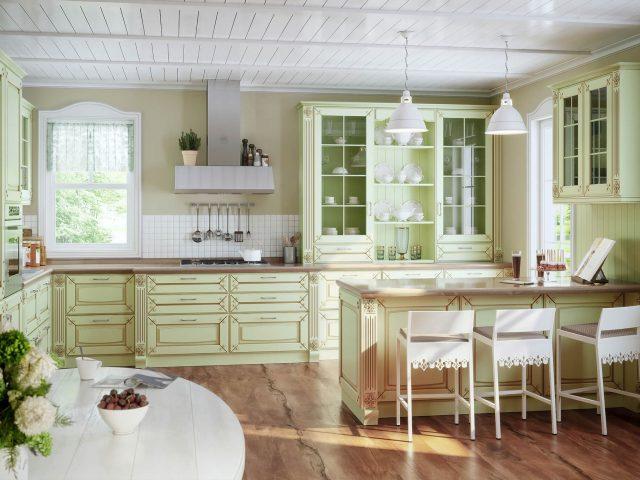 Фото кухни из массива дерева Мерано