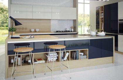 Синяя кухня Россо в современном стиле с глянцевыми фасадами из МДФ