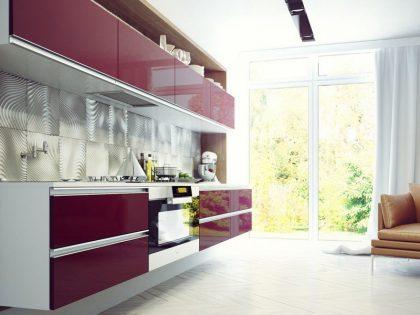 Современная кухня ALVA со сверхглянцевыми фасадами из МДФ Эмаль