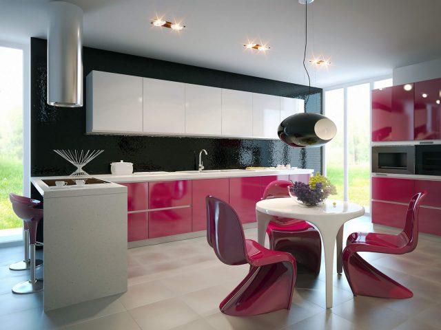 Розовая белая современная кухня из МДФ со скрытой ручкой Россо