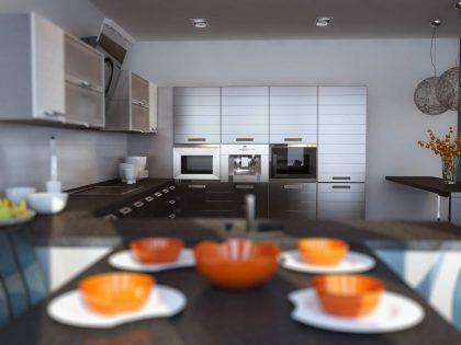 Современная кухня LINE с матовыми фасадами из МДФ эмали