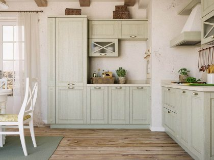 Светлая кухня из массива дерева Эри в стиле прованс