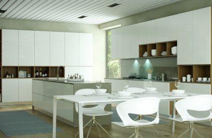 Современная кухня ALVA с матовыми фасадами из МДФ Эмаль