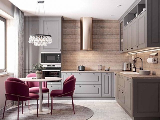 Кухня Лонгфорд с фасадами из МДФ в неоклассическом стиле