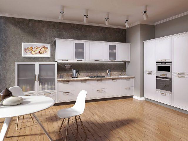 Современная кухня PRIZMA с фасадами из МДФ эмаль