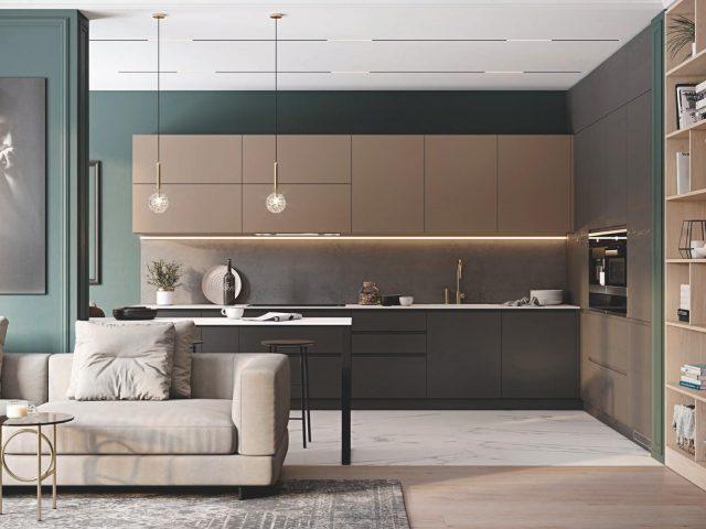 Кухня с фасадами покрытыми шпоном ясеня «НОРД»