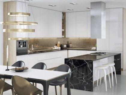 Белая современная кухня из МДФ Олимп