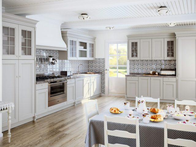 Фото белой кухни из массива дерева Buona Sera Roma
