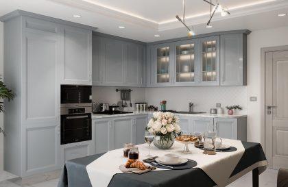 Кухня Астра с фасадами из массива ясеня со вставкой из МДФ