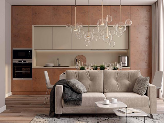 Кухня в стиле Лофт Синкрон Титан с фасадами HPL