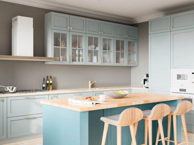 Фото кухни из МДФ с рамочными фасадами Фрост