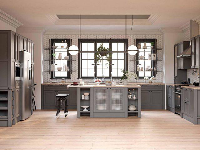 Кухня с фасадами из массива ясеня Фортвуд
