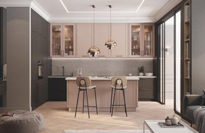 Кухня Трент с рамочными фасадами из МДФ в плёнке ПВХ