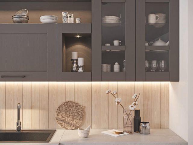 Кухня Тироль с рамочными фасадами из массива ясеня