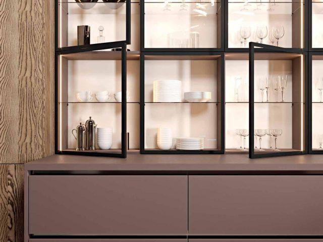Кухня Тауп в стиле Лофт с фасадами из пластика HPL