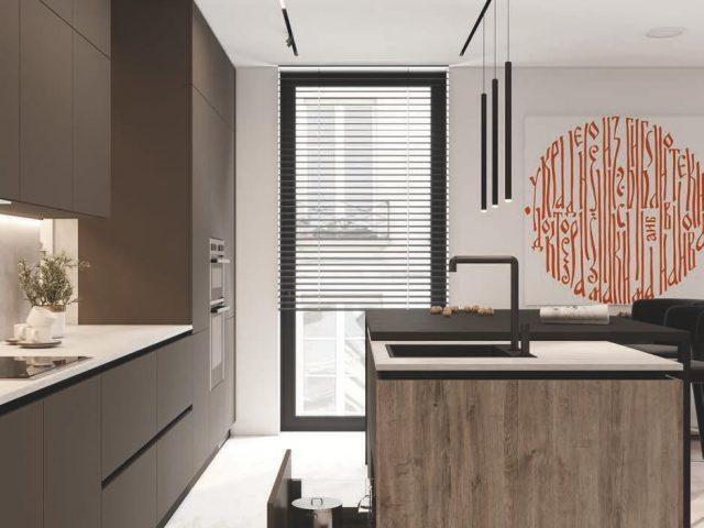 Кухня Кентукки в стиле Лофт с фасадами из акрила